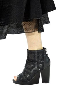 Chanel Cc Wedge Perforated Mesh Split Wedge Black Boots