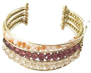 Ann Taylor LOFT Stacked Rondelle Cuff Bracelet Beaded Crystal