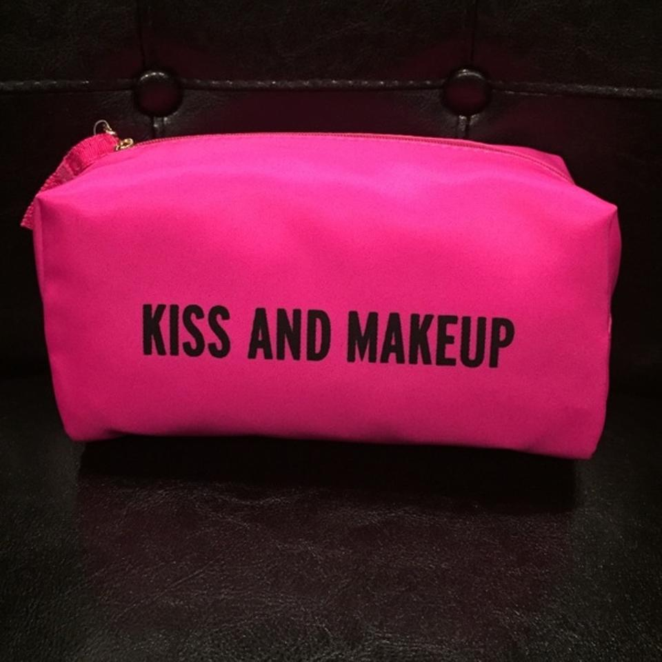 """Kiss And Make Up: Kate Spade Pink """"Kiss And Makeup"""" Pouch Cosmetic Bag"""