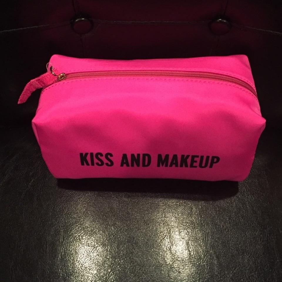 "Kiss And Make Up: Kate Spade Pink ""Kiss And Makeup"" Pouch Cosmetic Bag"