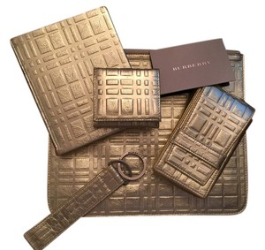 Burberry Limited Edition Burberry Platinum Plaid Metallic Leather Accessories