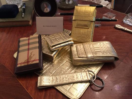 Burberry Limited Edition Burberry Platinum Gold Plaid Metallic Leather Set