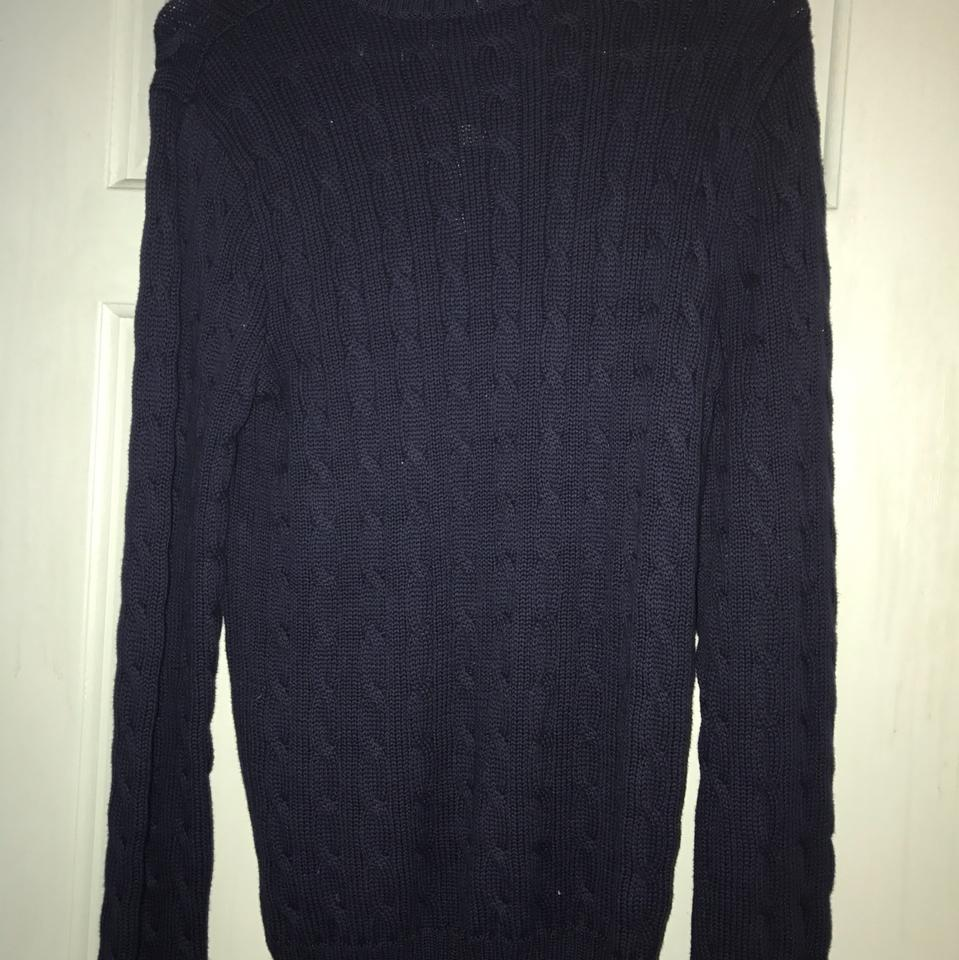 Ralph Lauren Navy Blue Cable Knit Sweaterpullover Size 12 L Tradesy