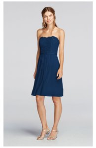 David's Bridal Cocktail Navy Lace Scalloped Strapless Dress