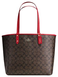 Coach Tote in Chocolate and Red