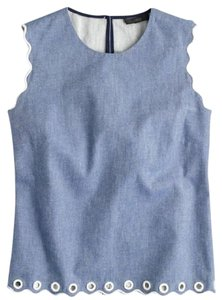 J.Crew Grommets Chambray Scalloped Denim Cotton Top