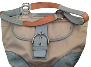 Coach Satchel in Beige and Light Blue