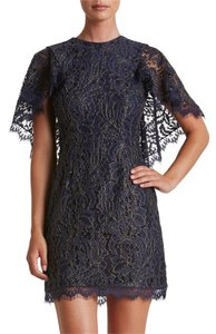 Dress the Population short dress Dark Navy Lace Blue Gold Short on Tradesy