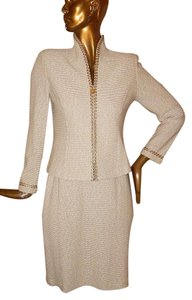 St. John St John Collection 610 Beige Tweed Knit 2pc Jacket Skirt Suit Usa