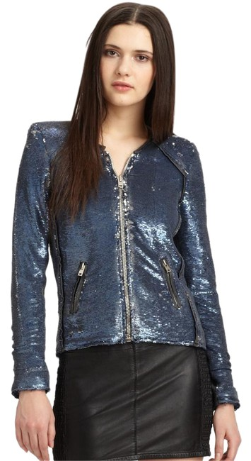 Item - Blue Dylan Sequin Moto Leather Jacket Size 6 (S)