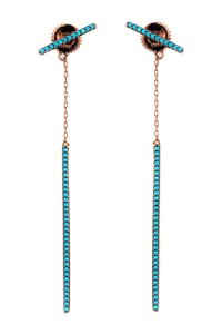 Gab & Kos 18K Rose Gold Plated Sterling Silver Vertical Drop Synthetic Turquoise