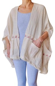 Cactus Flower Kimono Fringe Wrap White Cotton Cape