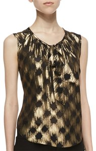 Jason Wu Silk Size 8 Metallic Fibers Sleeveless Chiffon Top Gold & Black