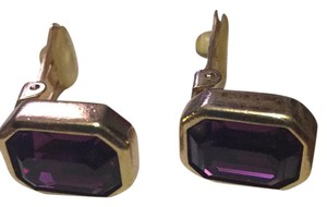 Dior Christian Dior Goldtone Purple Princess Cut Stone Clip-On Earrings