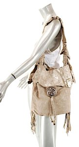 JEN MASCALI Handcrafter Suede Drawstring Satchel in Taupe with Gold