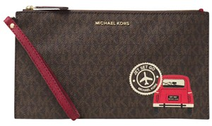 Michael Kors Monogram Wristlet in Brown/Cherry