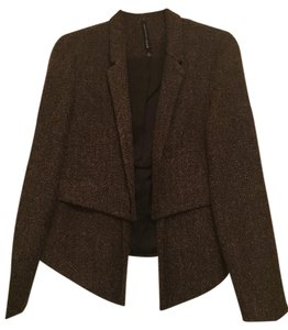 W118 by Walter Baker Draped Knit Open Front black and camel Jacket