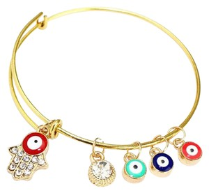Other Enamel Evil Eye Hamsa Hand Fatima charm Adjustable Bangle Gold Plated Bracelet