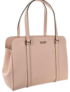 Kate Spade Structured Large Saffiano Leather Classic Tote in Beige