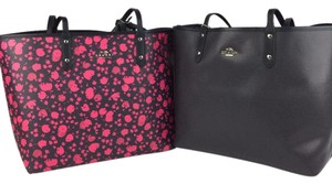 Coach Reversible Blue Tote in Ruby Pink/Midnight