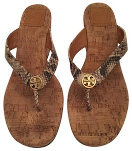 Tory Burch Brown and Cream Snakeskin Sandals