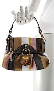 Fendi Handbag Canvas Satchel in Black Gold Brown Multi Color