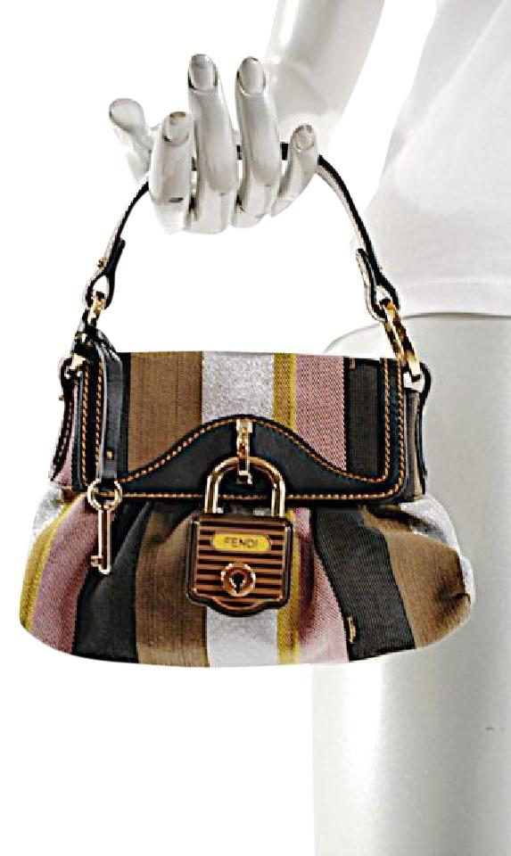 667c61576e105 Fendi Handbag Canvas Satchel in Black Gold Brown Multi Color Image 0 ...