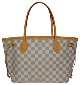 Louis Vuitton Neverful Neverfull Blue And White Check Checkerboard Azur Damier Tote in Damier Azur