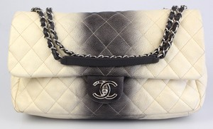Chanel Ombre Caviar Ivory Gradient Silver Shoulder Bag