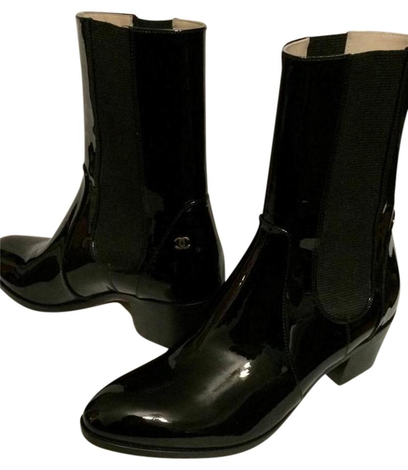 763759cfc39 Chanel Black 14a Patent Leather Cc Short Mid Calf Heels 36 Boots Booties