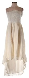 Ivory Maxi Dress by Love Sam Strapless Embroidered Mesh Hi Lo