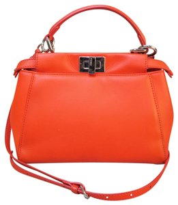 Fendi Mini Peekaboo Leather Satchel in orangered