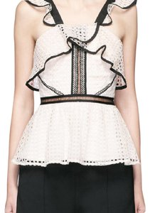 self-portrait Peplum Spring Summer Outside Top Black and White