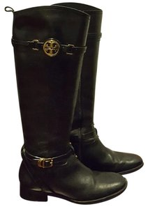 Tory Burch Flat Black leather with gold hardware Boots