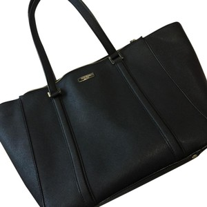 Kate Spade Leather Silver Hardware Tote in black