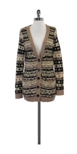 Jill Stuart Cream Rose Black Metallic Thread Cardigan