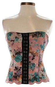 Free People Floral Strapless Sweetheart Top