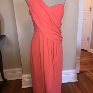 BCBGMAXAZRIA Coral One-shoulder Draped Coral Dress