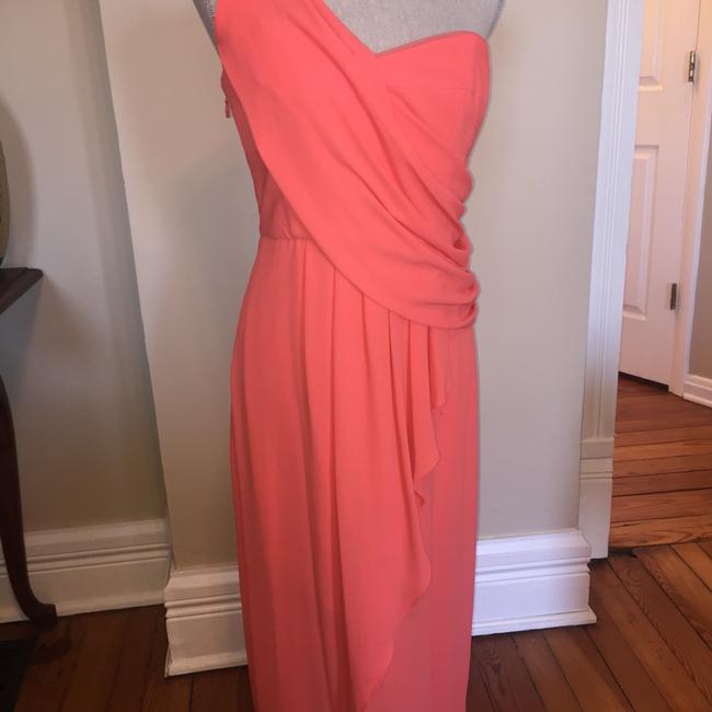Item - Coral Polyester One-shoulder Draped Feminine Bridesmaid/Mob Dress Size 6 (S)