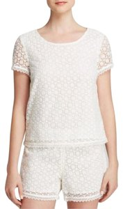 Joie Lace Crochet T-shirt Top white
