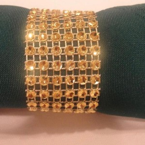 200 Gold Napkin Rings Rhinestone Style Weeding Decoration