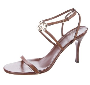 Gucci Gold Hardware Embellished Gg Horsebit Brown, Gold Sandals