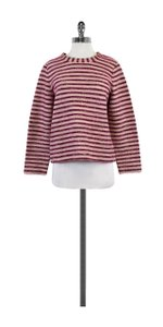 Tory Burch Pink Grey Striped Sweater