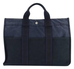 Hermès Bicolor Canvas Tote in Navy x Black