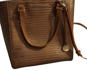 Brahmin Satchel in tan, gold, cream, and a gloss tint around the bag but normal tan for the straps to the bag