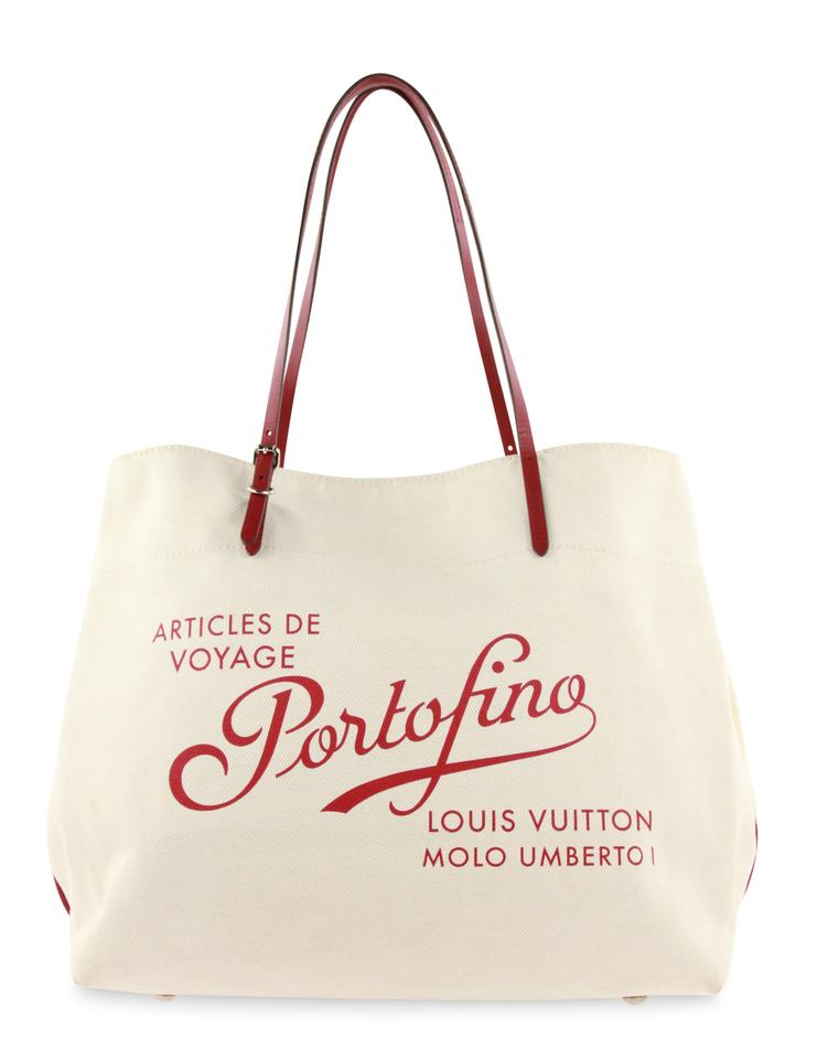 9a2b4e06b7e4 Louis Vuitton Cabas Articles De Voyage Portofino Gm White Cotton ...