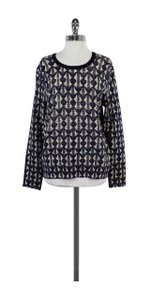 Tory Burch Navy & Cream Patterned Wool Sweater
