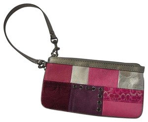 Coach Suede Leather Patchwork Signature Wristlet in Grey & Pink