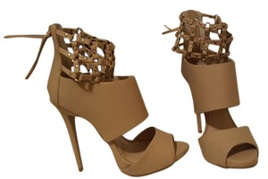 bebe Heels Knotted Cuff Sandal Cuff Heels Cage Heels Natural Pumps