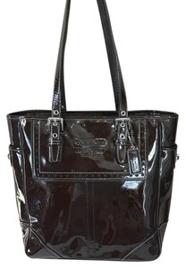 Coach Patent Leather Monogram Leather Tote in Brown